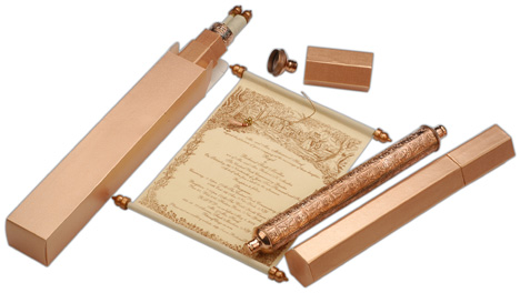 Unique Scroll Anniversary Invitations