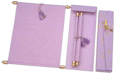 Lilac and gold invitation