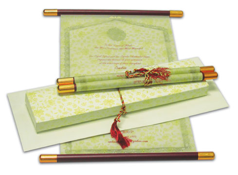 Wedding Scroll Invitations Customizable in terms of colors of paper